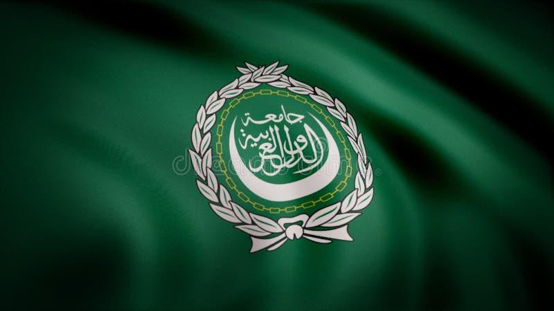Arabförbundflagga som vinkar den sömlösa öglan Loopable flagga för arabförbund med högt detaljerad tygtextur Liga av arabiskt royaltyfria bilder