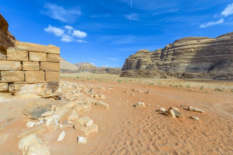 Arabia's议院的劳伦斯废墟在瓦地伦 免版税库存图片