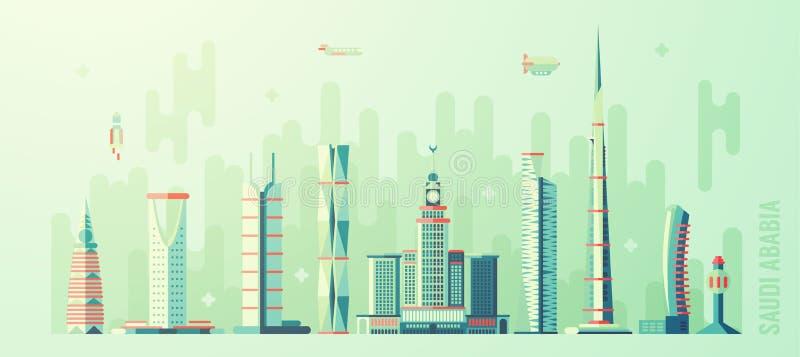 Arabia Saudyjska linii horyzontu wysokiego budynku światowy wektor royalty ilustracja