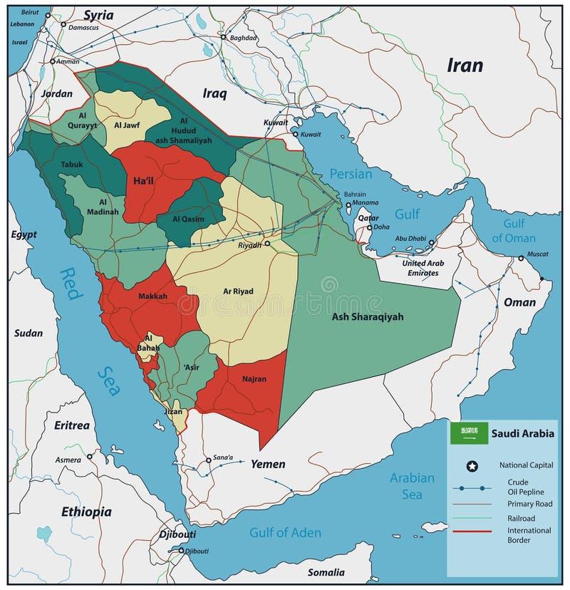 Arabia Saudyjska mapa z selectable terytorium wektor ilustracji