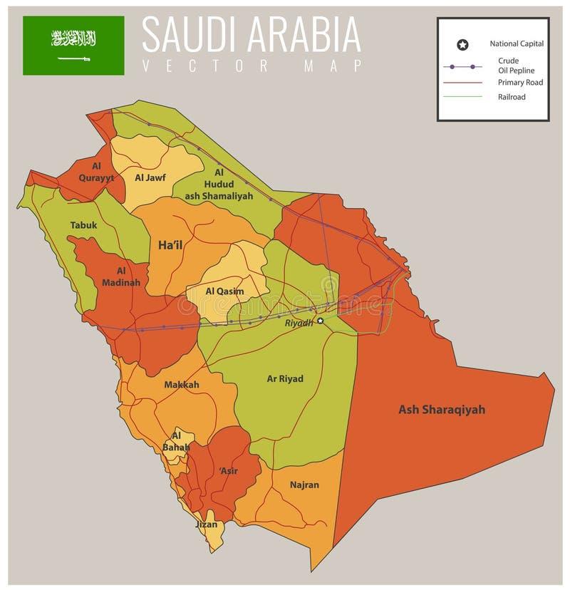 Arabia Saudyjska mapa z selectable terytorium wektor ilustracja wektor