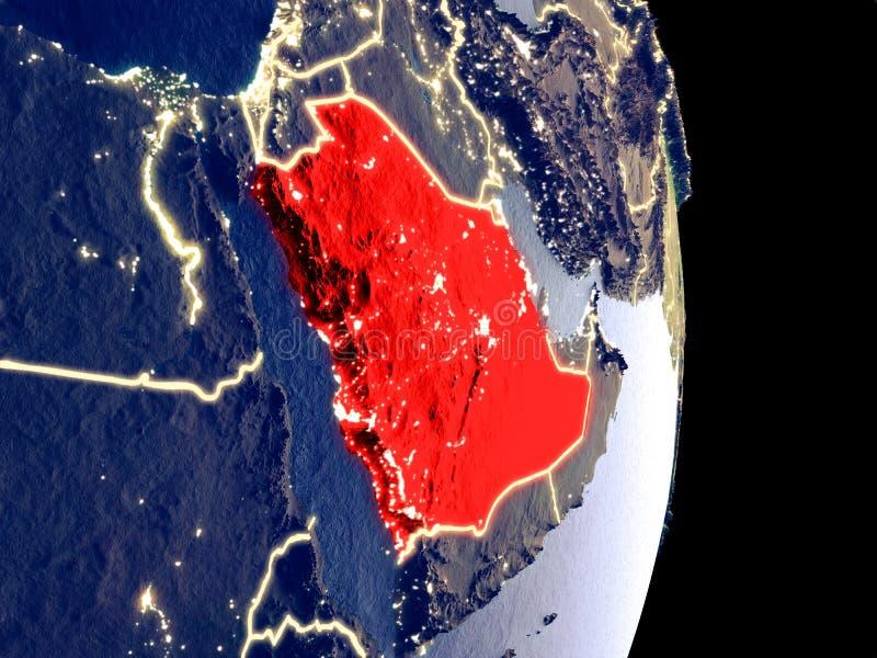 Arabia Saudyjska na nocy ziemi obraz royalty free