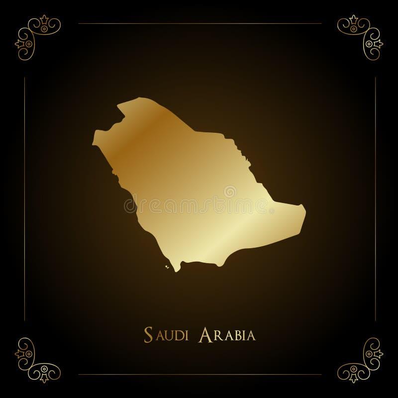 Arabia Saudyjska złota mapa ilustracja wektor