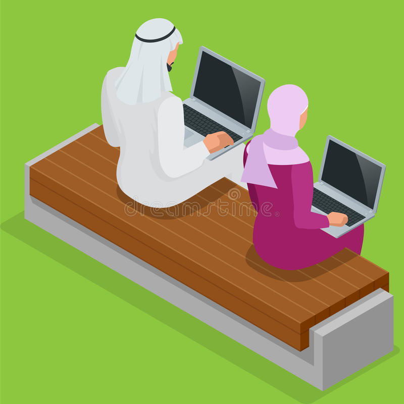 Arabian business man working on Laptop. Arab businesswoman hijab working at a laptop. Vector flat 3d isometric royalty free illustration