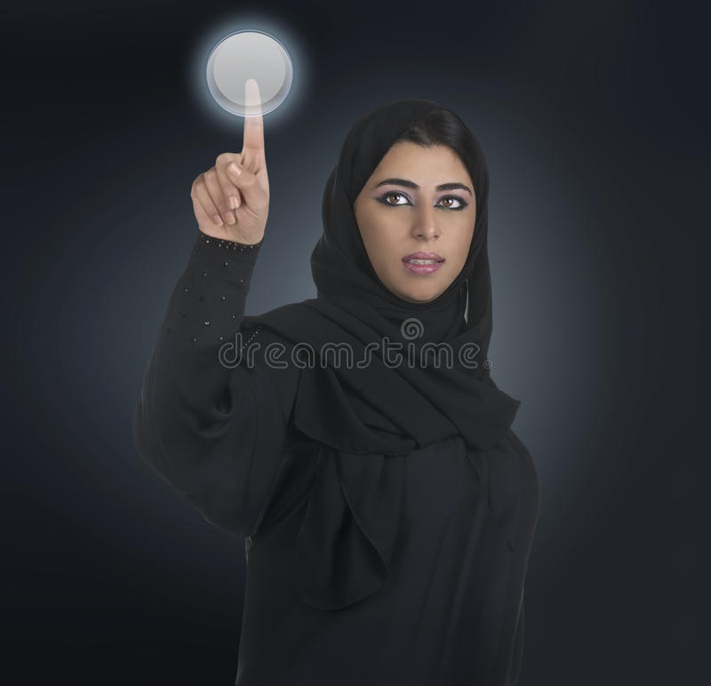 Download Arabian Business Woman Pressing A Touchscreen Stock Photo - Image: 22628910