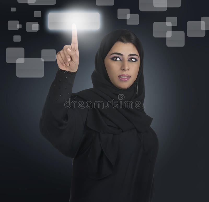 Download Arabian Business Woman Pressing A Touchscreen Stock Image - Image: 22628913