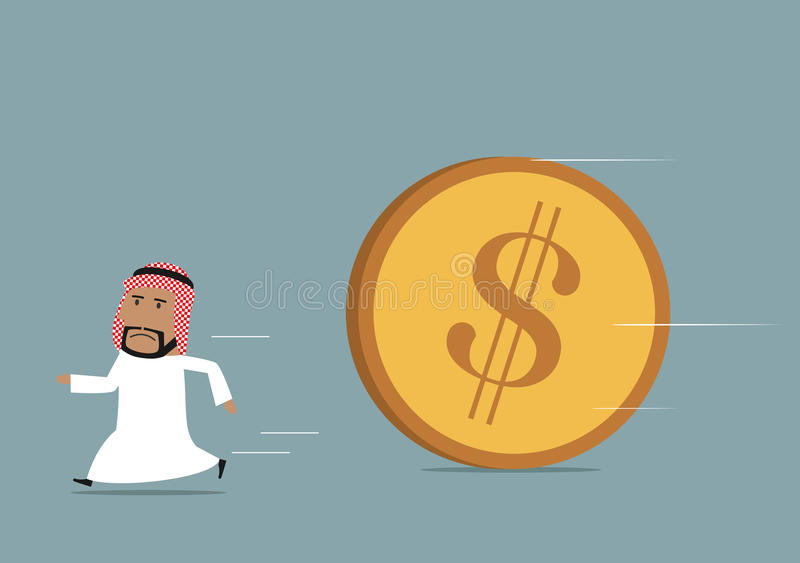 Arabian businessman funning from powerful dollar. Financial crisis, debt or bankruptcy concept. Cartoon arabian businessman running away from huge rolling dollar royalty free illustration