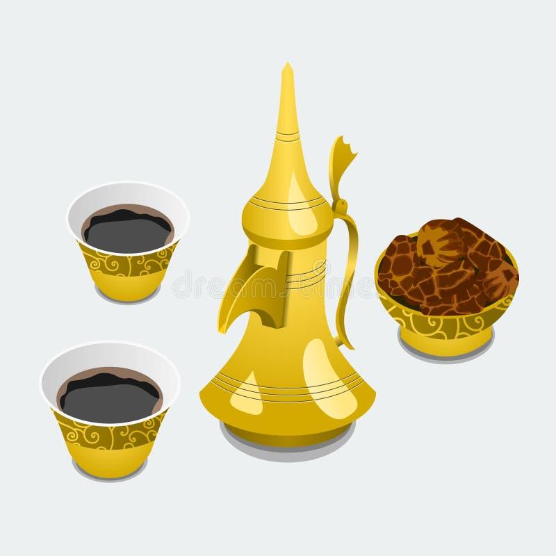 Arabian Coffee and Dates. Editable Isolated Arabian Coffee and Dates in a Bowl Vector Illustration stock illustration