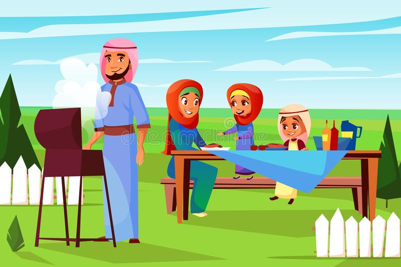Arabian family barbecue picnic vector illustration. Arabian family at barbecue picnic vector illustration. Cartoon design of Saudi Muslim father man frying BBQ stock illustration