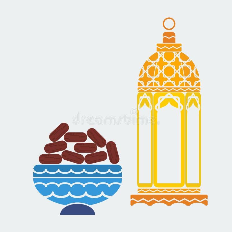 Arabian Lamp and Dates Fruit for Ramadan Concept stock illustration
