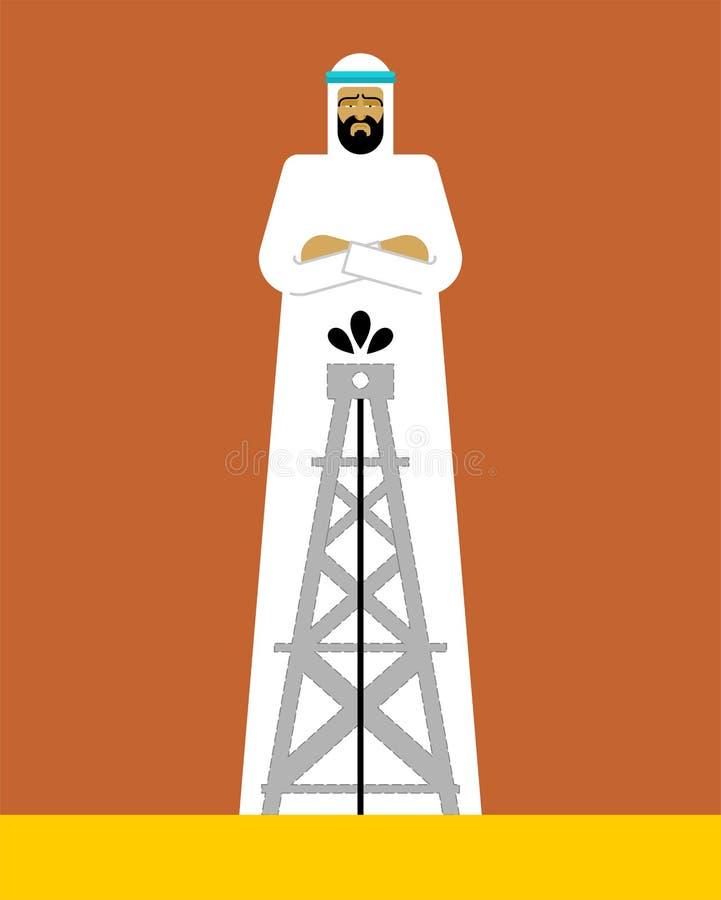 Arabian man and oil pump. OAE guy. Vector illustration.  vector illustration