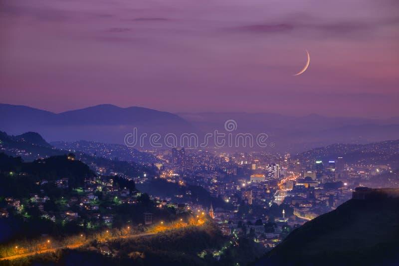 Sarayevo Arabian Night At Twilight, Bosnia And Herzegovina royalty free stock photo
