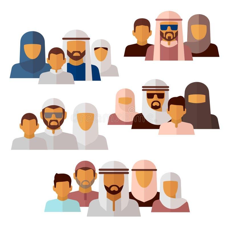 Arabian, muçulmano, ícones do Oriente Médio da família ilustração stock
