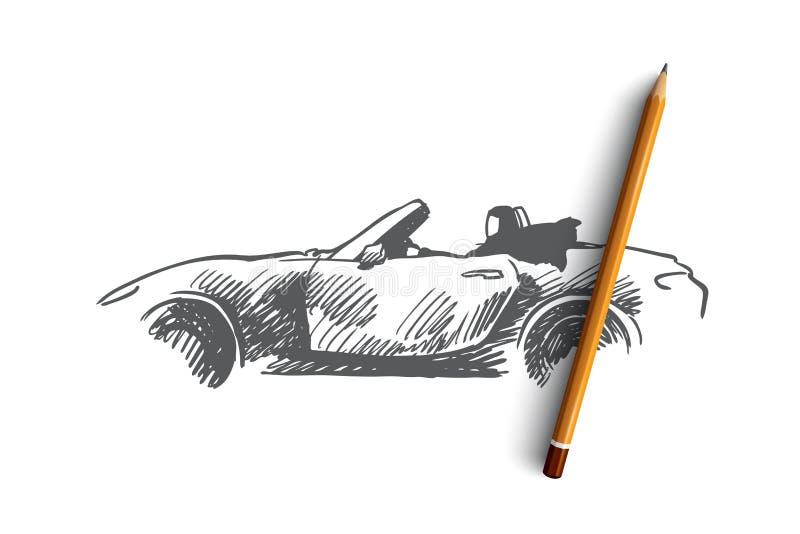 Arabian, mulher, movimentação, carro, conceito muçulmano Vetor isolado tirado mão ilustração stock