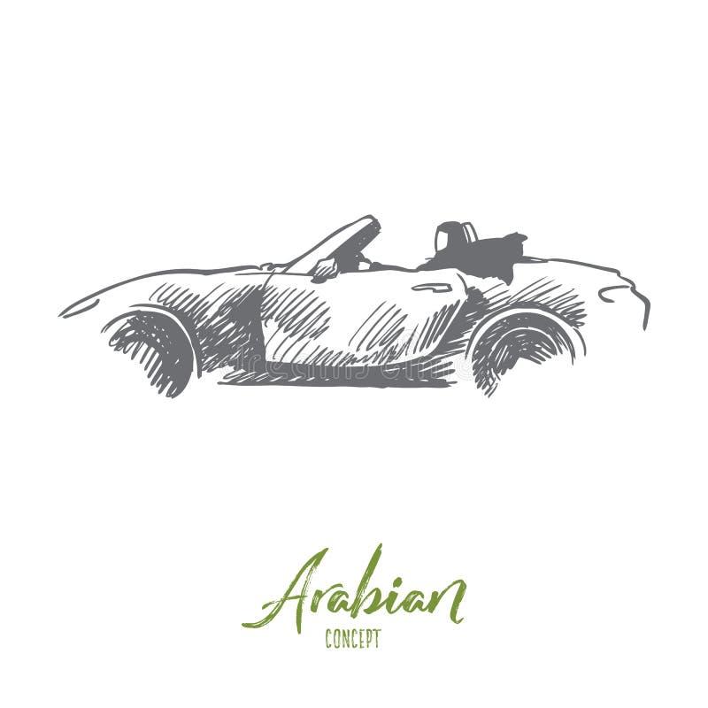 Arabian, mulher, movimentação, carro, conceito muçulmano Vetor isolado tirado mão ilustração royalty free