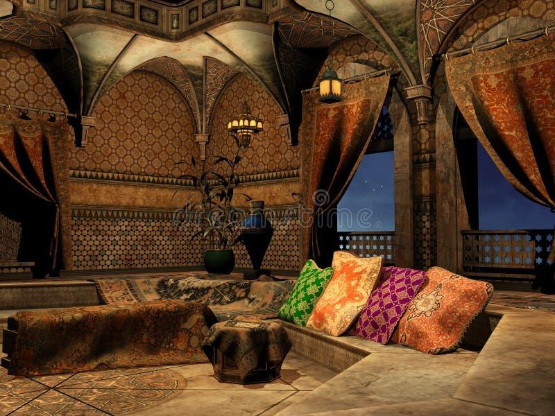 Arabian palace interior. Fantasy arabian palace interior with pillows royalty free illustration