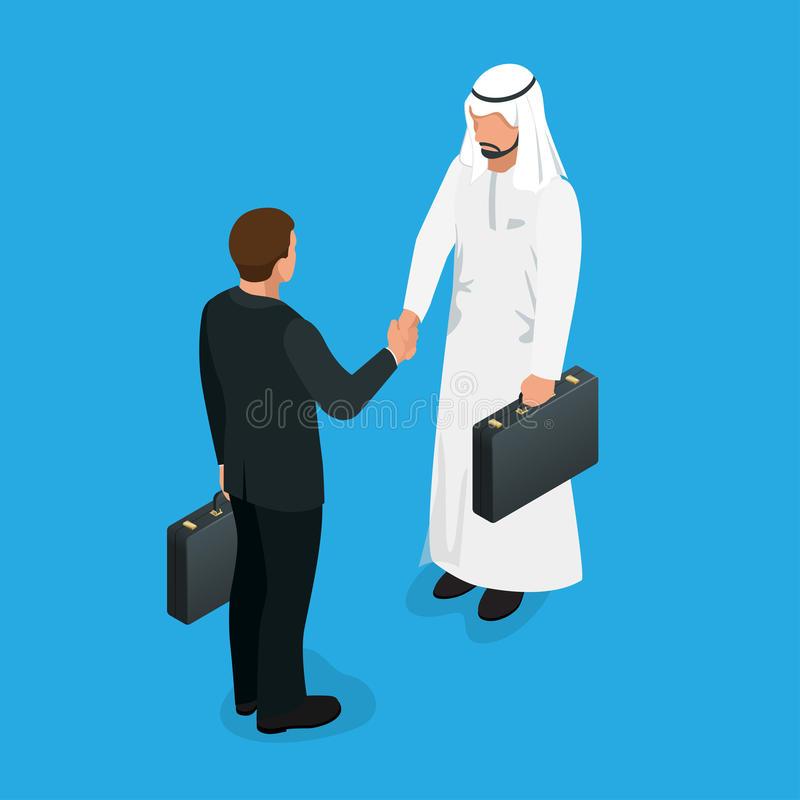 Arabian partners handshake concept. Business deal handshake with Arabic and European ethnic mans. Flat 3d vector royalty free illustration