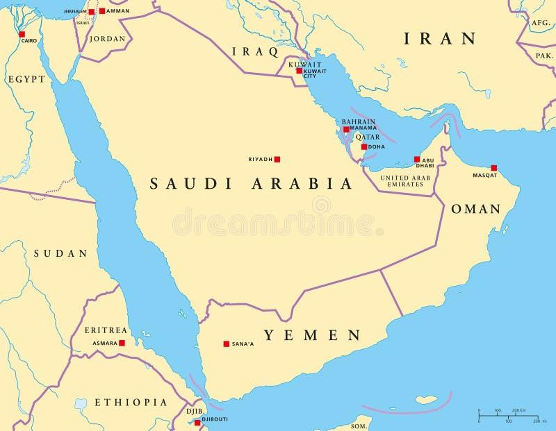 Download Arabian Peninsula Political Map Stock Vector - Illustration: 39076370