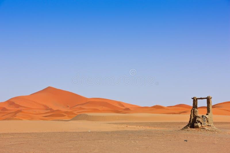Arabian Sand Dunes And Fountain Stock Image