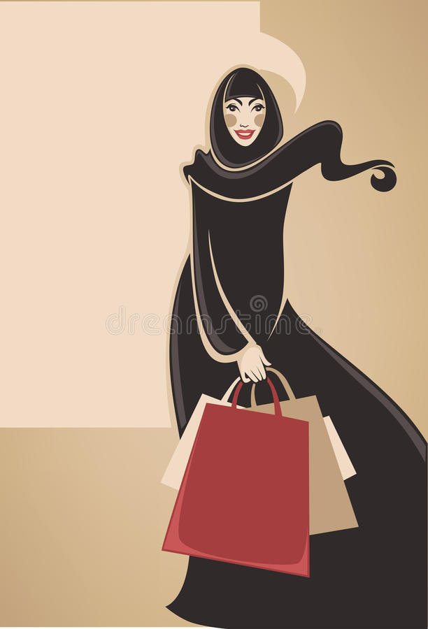 Arabian shopping stock illustration