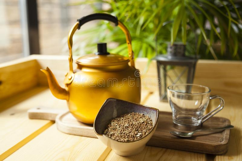Arabian spiced coffee still life. royalty free stock photos