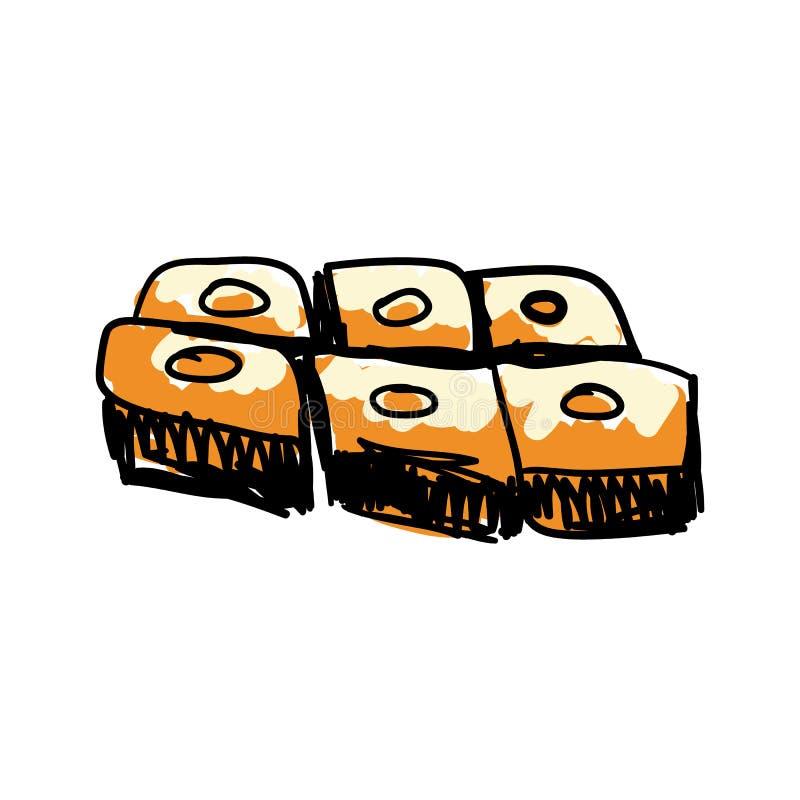 Arabian traditional sweets hand drawn icon vector illustration