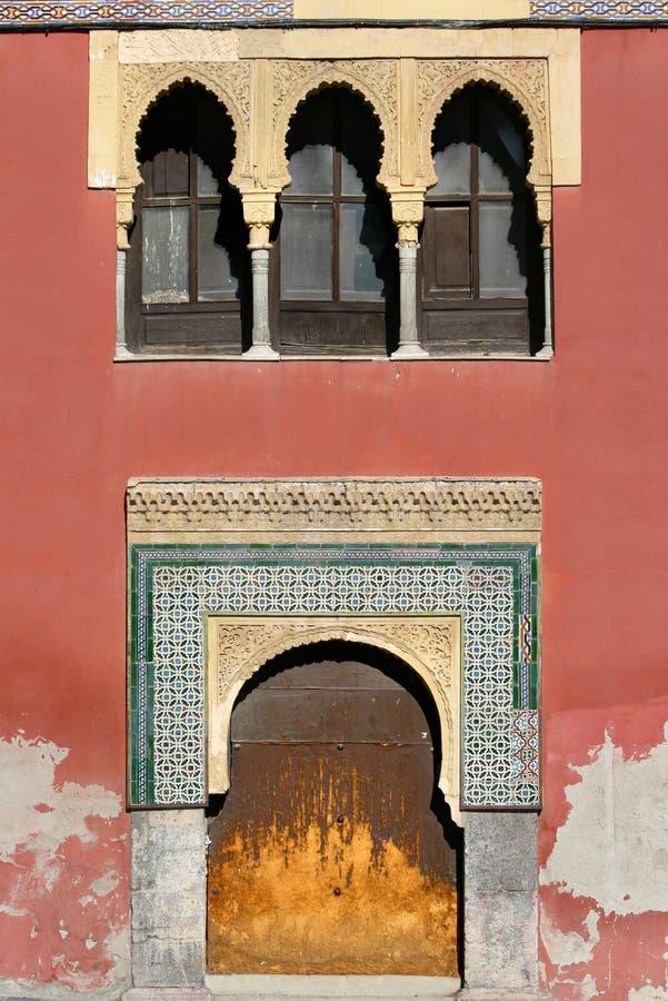 Arabian window and door in Cordoba - Spain stock photo
