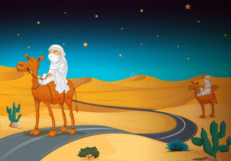 Arabians jedzie na wielbłądzie ilustracji