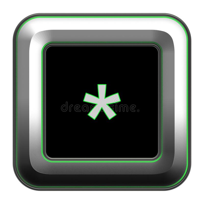 Arabic alphabet, multiple mark written on metallic icon. Arabic alphabet, written on square metallic icon surrounding with green line and black background royalty free illustration