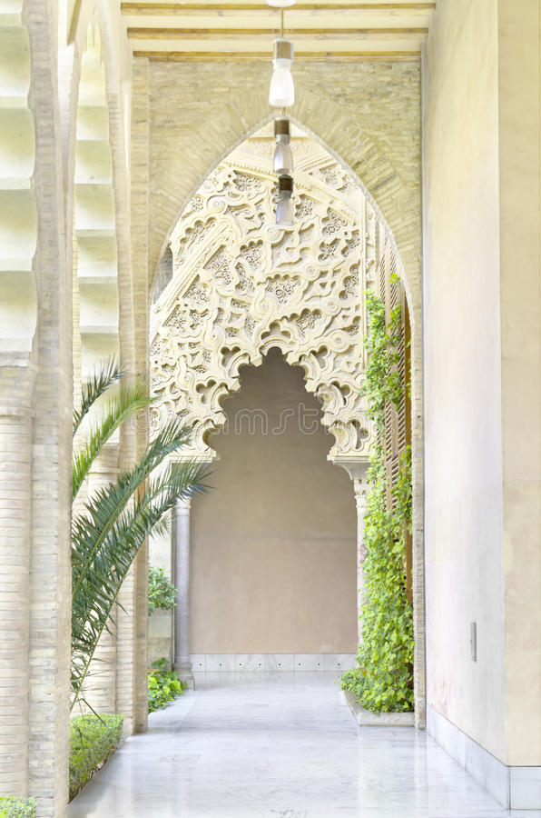 Arabic arches at Aljaferia Palace. royalty free stock photo