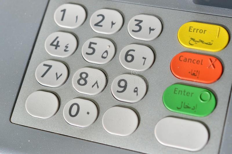 Arabic ATM keyboard. ATM keyboard with Western and Eastern arabic numbers stock photography