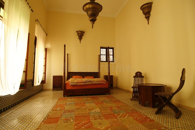 Arabic bedroom (Morocco) stock photo