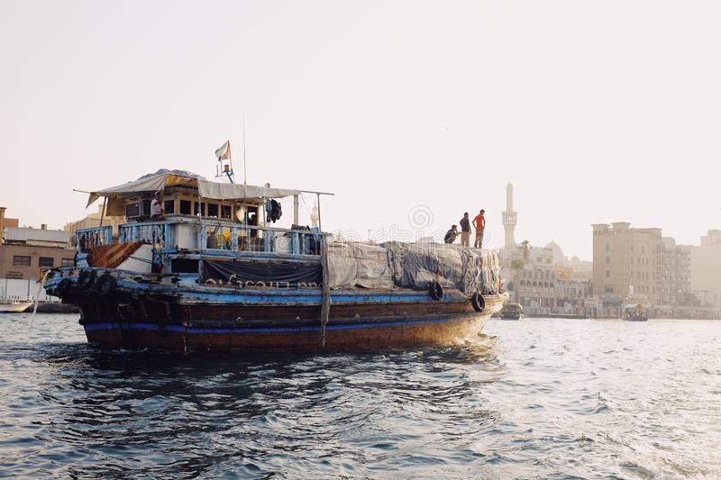 Arabic boat dhow in Dubai Creek royalty free stock images
