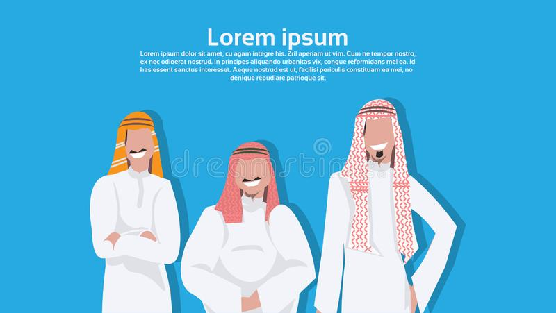 Arabic business men standing together different body type wearing traditional clothes arab businessman male cartoon royalty free illustration
