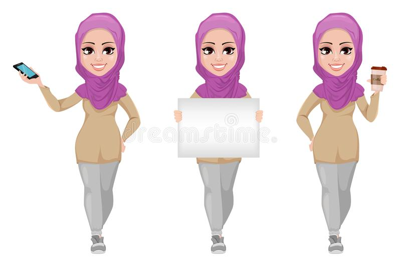 Arabic business woman, smiling cartoon character, set vector illustration