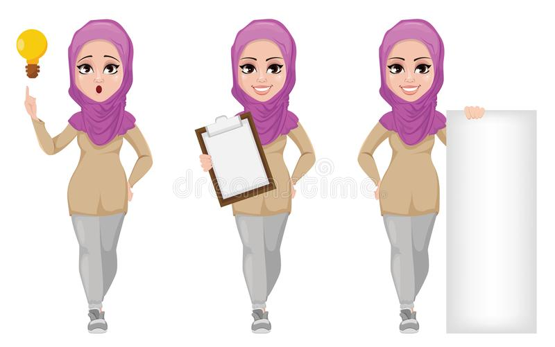 Arabic business woman, smiling cartoon character, set. stock illustration