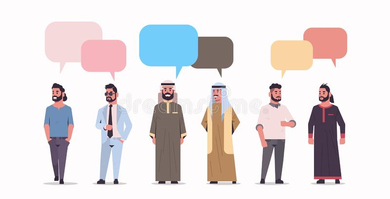 Arabic businesspeople group standing together chat bubble communication concept arab men wearing traditional clothes royalty free illustration