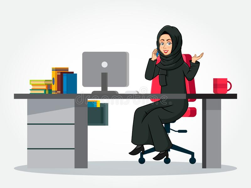 Arabic Businesswoman cartoon Character in traditional clothes sitting at her desk, speaking on smartphone and gesturing hand royalty free stock photo