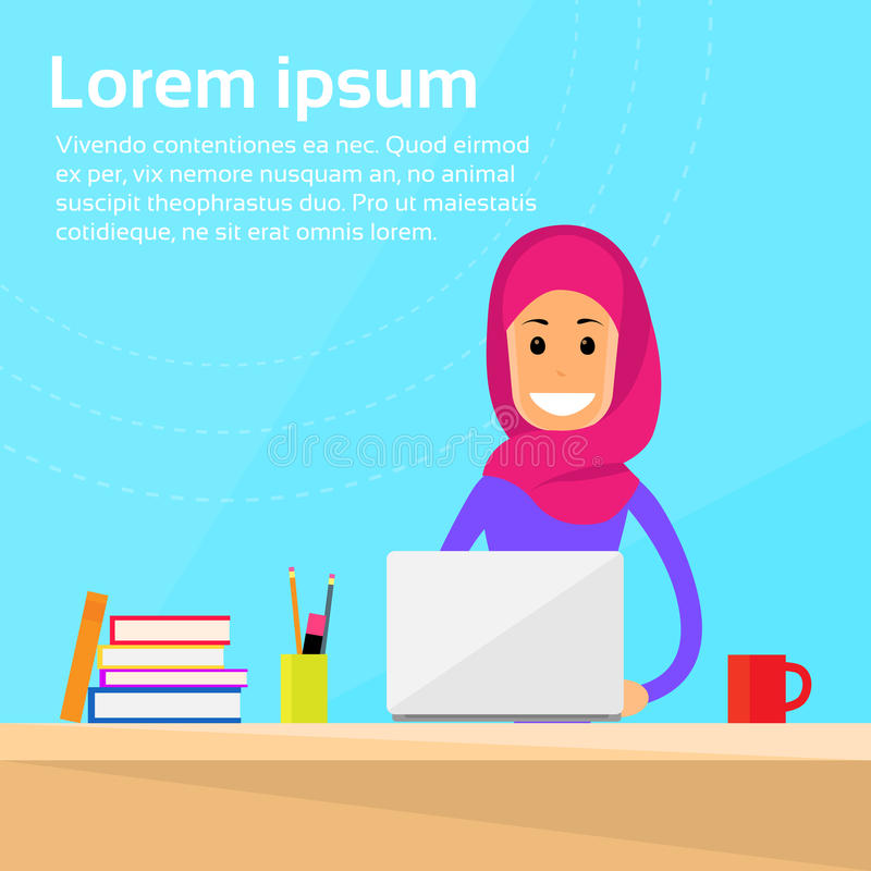 Arabic Businesswoman Laptop Desk Working Computer royalty free illustration
