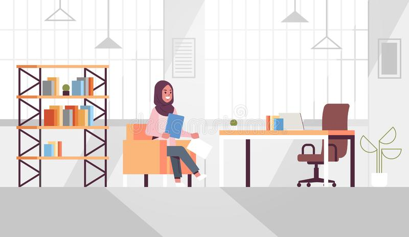 Arabic businesswoman sitting at workplace desk arab business woman holding paper documents preparing report working. Process concept modern office interior flat vector illustration