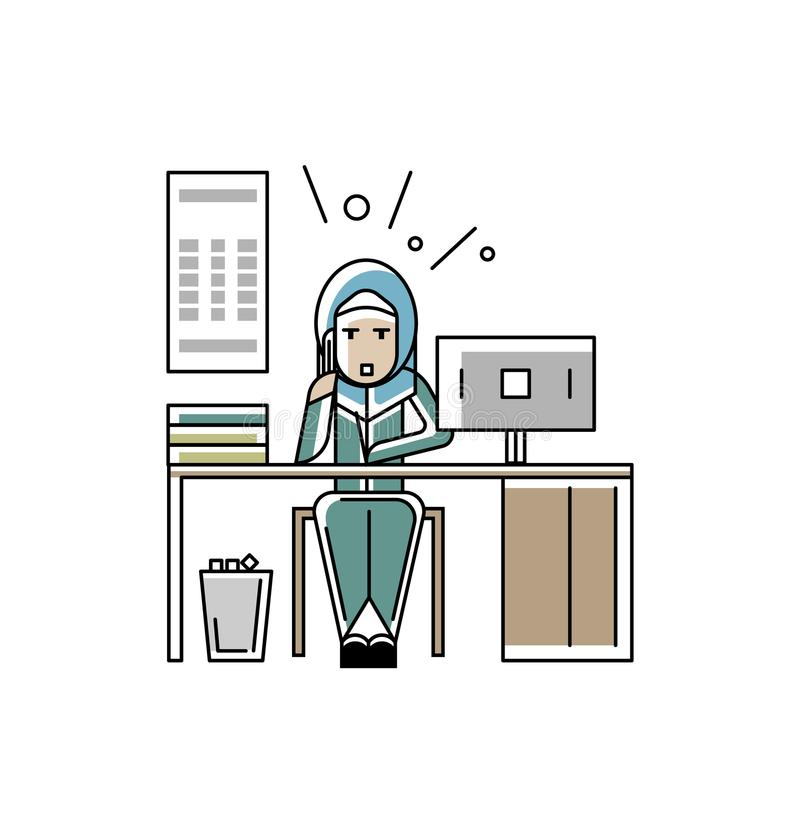 Arabic businesswoman talking on phone. At office desk with computer. Corporate business people isolated vector illustration in linear style royalty free illustration