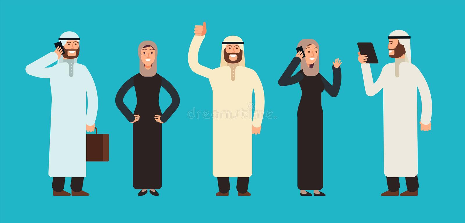 Arabic businesswomen and businessmen group. Arab business people team vector cartoon characters set vector illustration