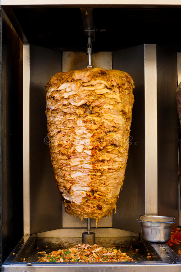 Free Arabic Chicken Spit Cooking Shawarma Meat Royalty Free Stock Photos - 24925318