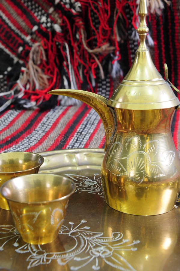 Download Arabic coffe pot and cups stock photo. Image of decorated - 5418314