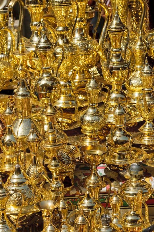 Arabic coffe-pots at bazaar stock photography