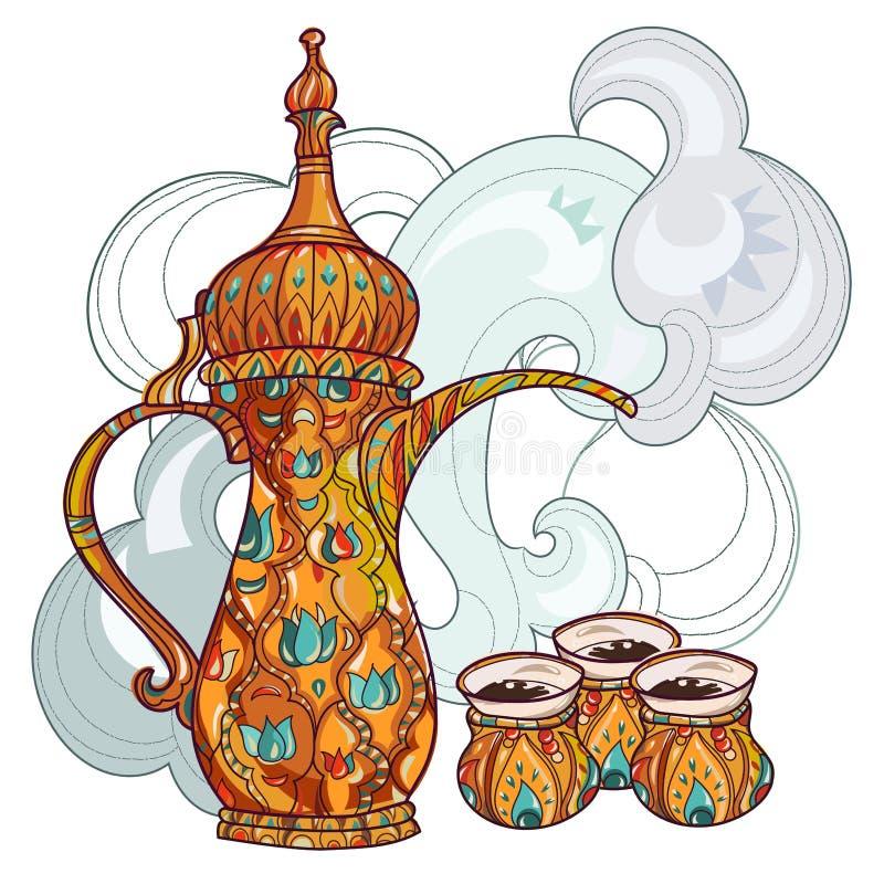 Arabic coffee maker dalla with cups. Greeting card or invitation, hand drawn sketch.Zen art hand drawn stock illustration