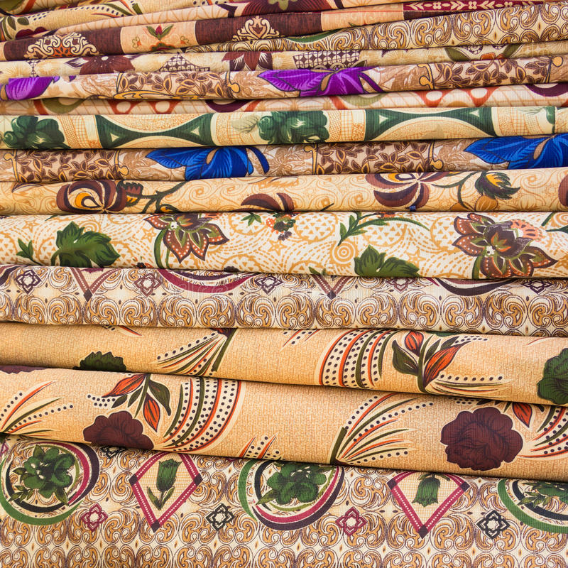 Arabic colorful fabric. Tiles of Arabic colorful fabric stock images