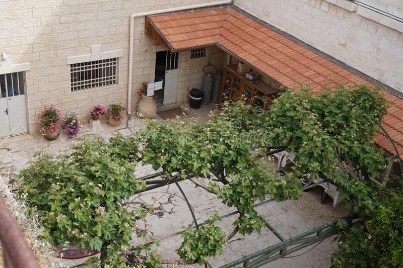 Arabic courtyard with flowering trees in the old city of jerusalem. Arab courtyard with flowering trees in the old city of jerusalem stock photos