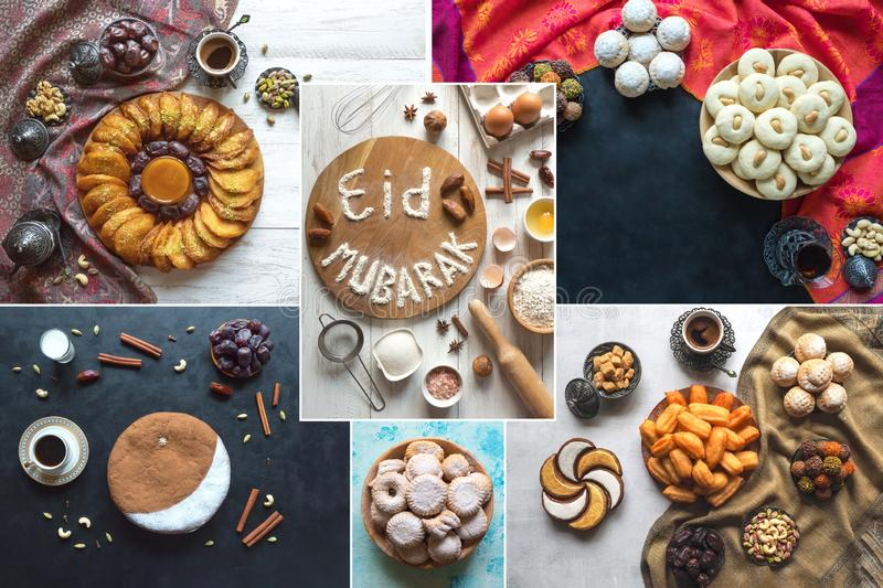 Arabic cuisine collage. Eid Mubarak - Islamic holiday welcome phrase ` happy holiday`, greeting reserved. royalty free stock image
