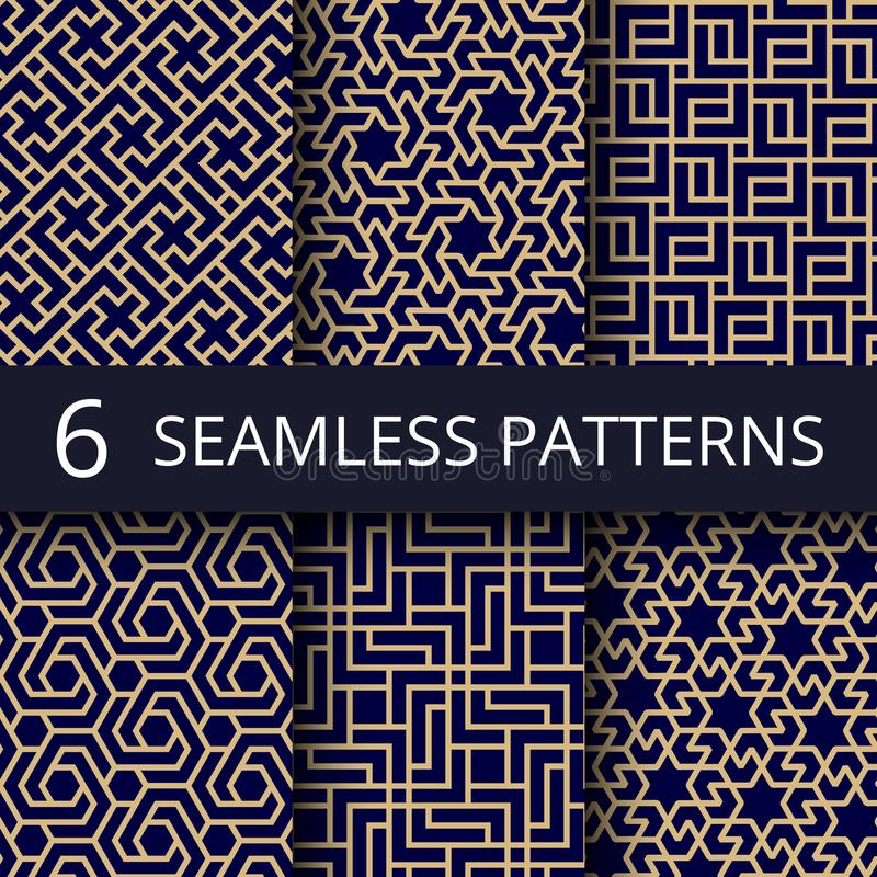 Arabic culture seamless vector patterns. Gold asian decoration repeat backgrounds stock illustration